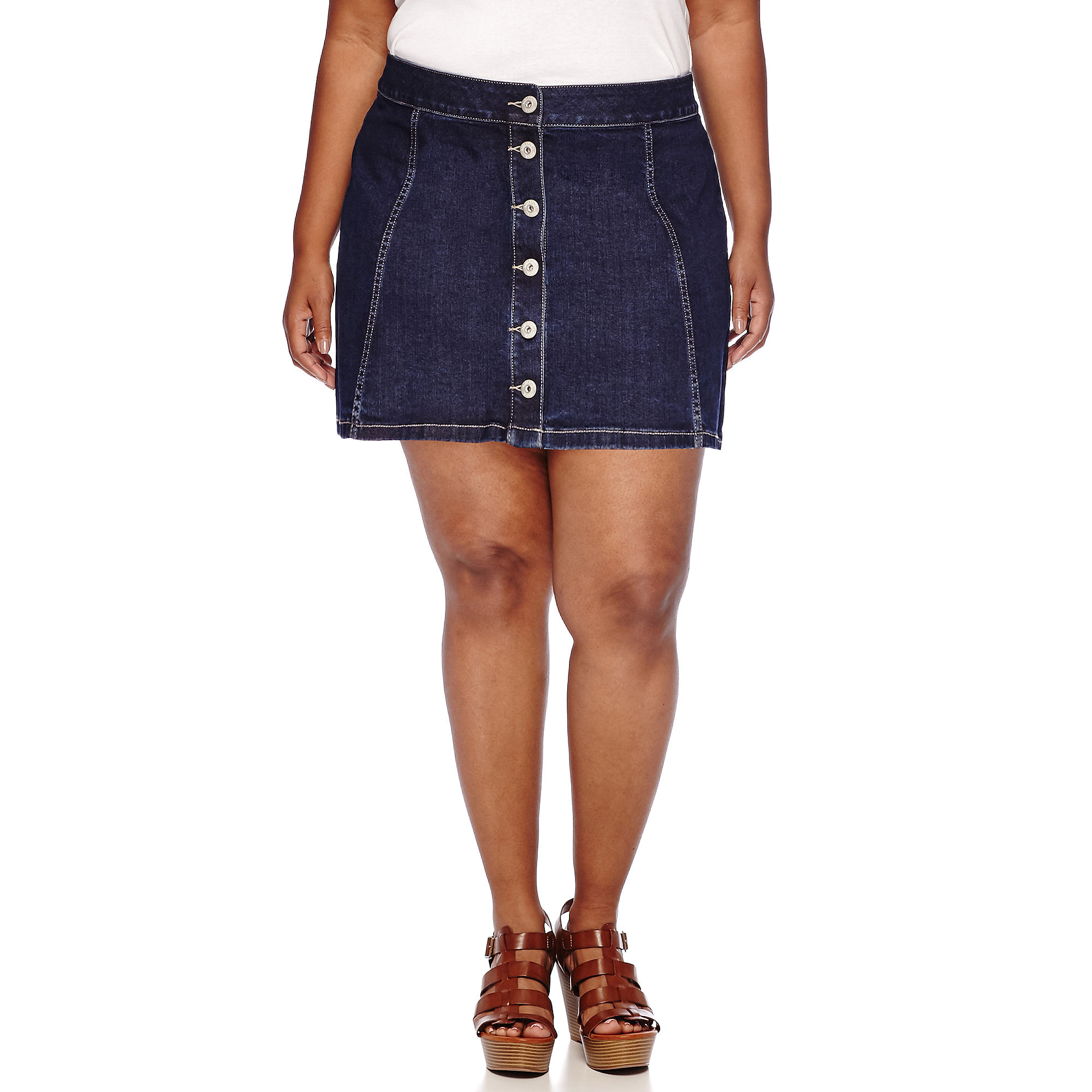 Arizona Button-Front Skirt - Juniors Plus plus size,  plus size fashion plus size appare