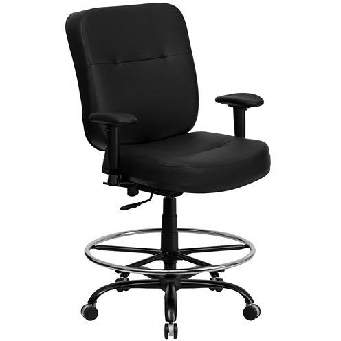 Contemporary Big & Tall Leather Drafting Stool