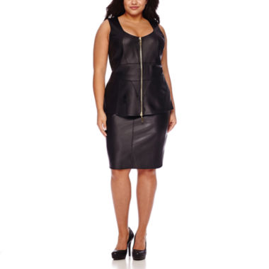 jcpenney.com | Bisou Bisou® Zip-Up Pleather Peplum Top or Pleather High-Low Scuba Skirt - Plus