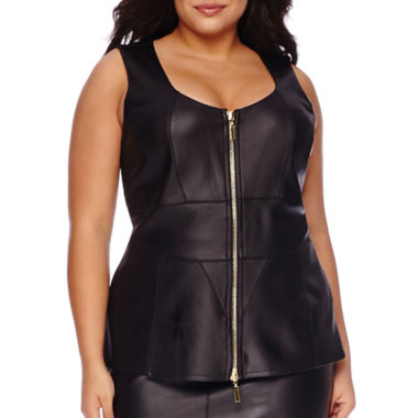 jcpenney.com | Bisou Bisou® Sleeveless Zip-Up Pleather Peplum Top - Plus