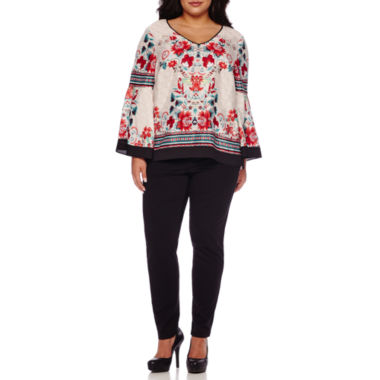 jcpenney.com | Bisou Bisou® Long-Sleeve Tiered V-neck Blouse or Double Stack Skinny Ponte Pants - Plus