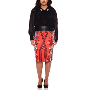 jcpenney.com | Bisou Bisou® Long-Sleeve Ruffle Tie-Neck Blouse or Printed Pencil Skirt - Plus