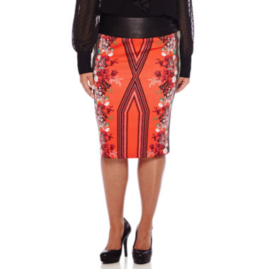 jcpenney.com | Bisou Bisou® Printed Scuba Pencil Skirt  - Plus