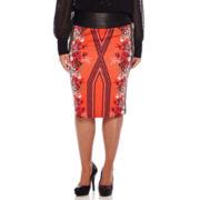 Bisou Bisou® Printed Scuba Pencil Skirt  - Plus