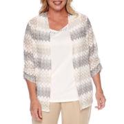 Alfred Dunner® Acadia 3/4-Sleeve Basket Weave Layered Top - Plus