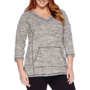 Liz Claiborne® 3/4-Sleeve Front-Pocket Pullover - Plus