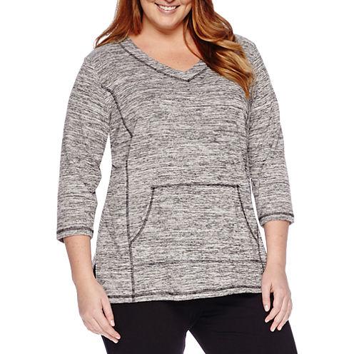 Liz Claiborne® 3/4-Sleeve Front-Pocket Pullover - Plus