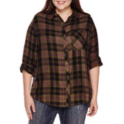 Arizona Long-Sleeve Boyfriend Plaid Shirt - Juniors Plus