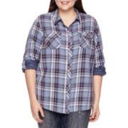 Arizona Long-Sleeve Classic Plaid Shirt - Juniors Plus