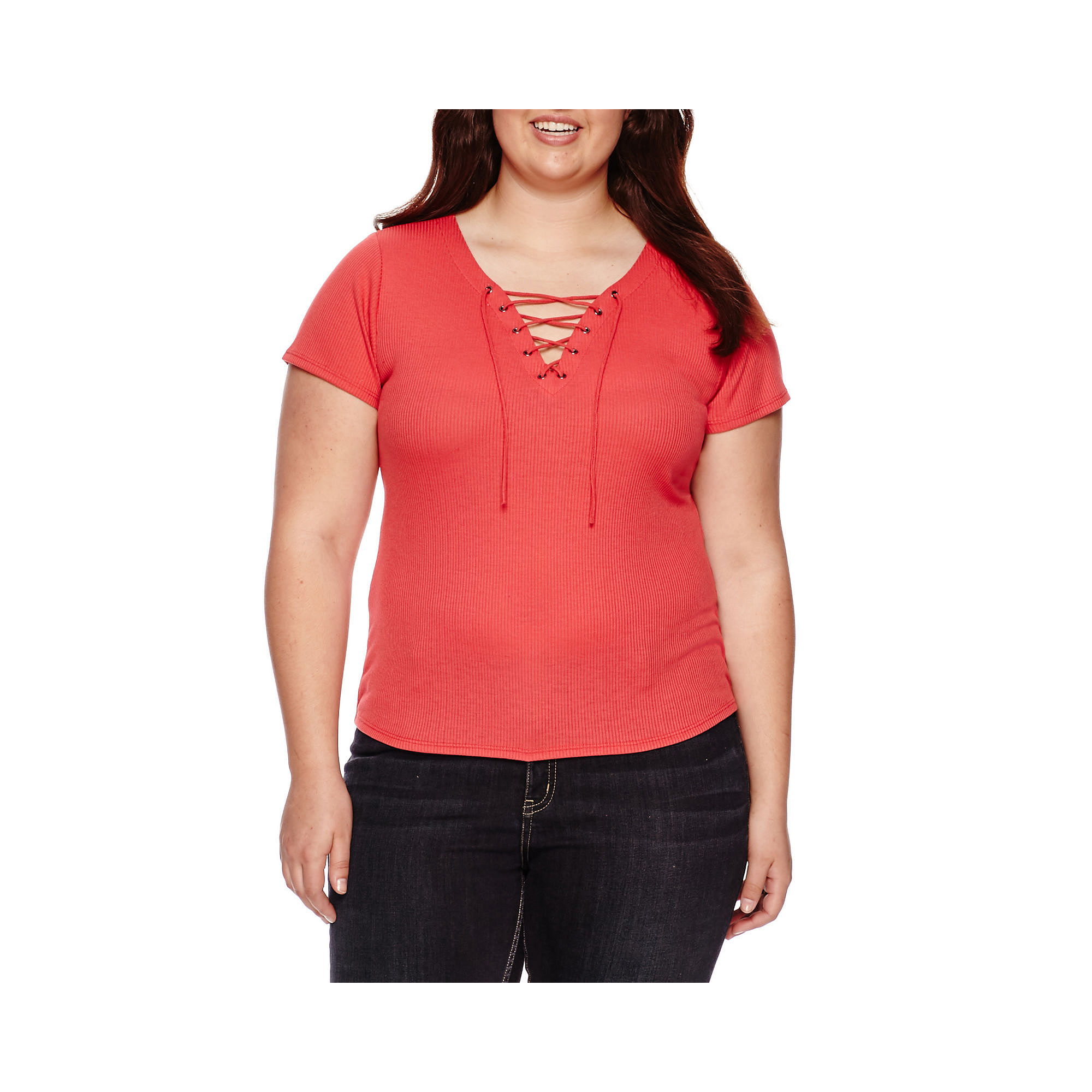 Arizona Short-Sleeve Lace-Up Tee - Juniors Plus plus size,  plus size fashion plus size appare