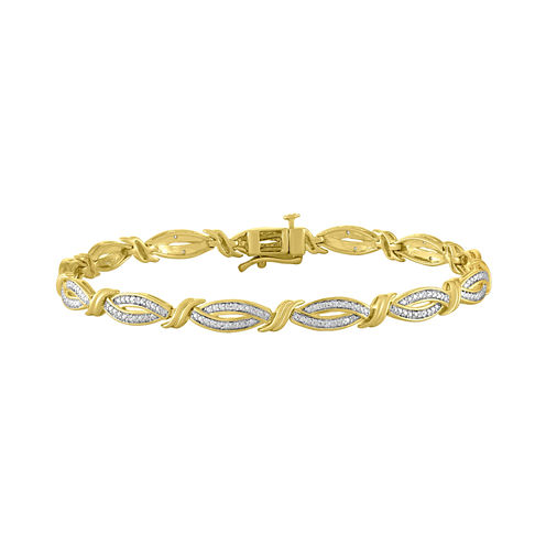 Womens 7 1/2 Inch 1/10 CT. T.W. White Diamond Sterling Silver Gold Over Silver Link Bracelet