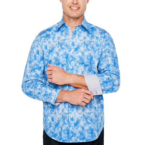 Society Of Threads Long Sleeve Abstract Button-Front Shirt