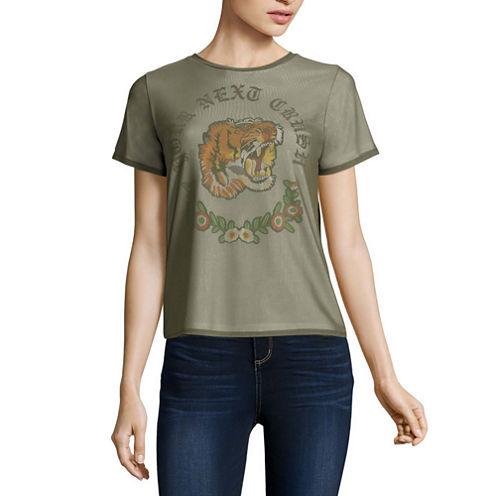 """Mesh Layered """"Your Next Crush"""" Tiger Graphic T-Shirt- Juniors"""