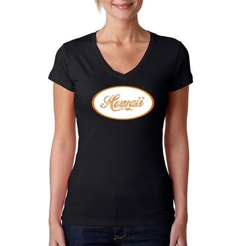 Los Angeles Pop Art Hawaiian Island Names & Imagery Graphic T-Shirt
