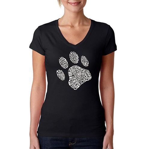 Los Angeles Pop Art Dog Paw Graphic T-Shirt