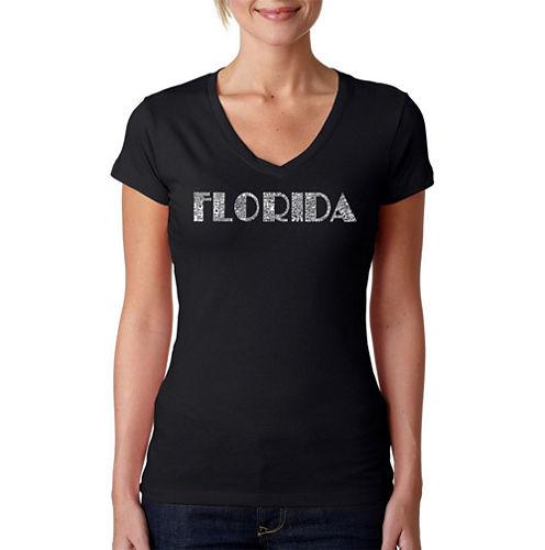 Los Angeles Pop Art Popular Cities In Florida Graphic T-Shirt