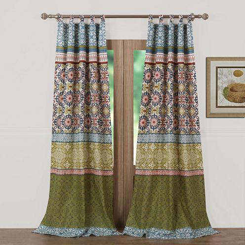 Greenland Home Fashions Shangri-La Tab-Top Curtain Panel