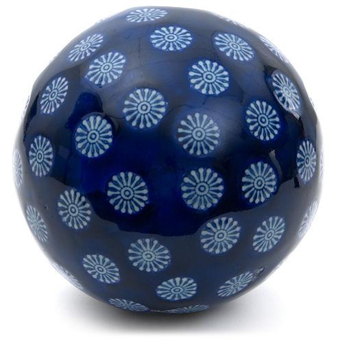 "Oriental Furniture 6"" Porcelain Blue With White Stars Decorative Balls"