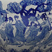 "Oriental Furniture 16"" Ladies Blue & White Porcelain Planter"