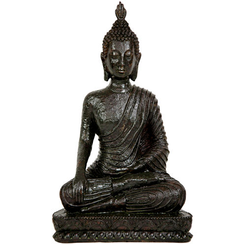 "Oriental Furniture 10"" Laotian Sitting Buddha Figurine"