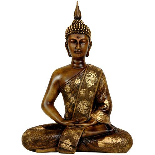 "Oriental Furniture 11"" Thai Sitting Buddha Figurine"