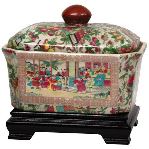 """Oriental Furniture 8"""" Rose Medallion Porcelain Vase"""