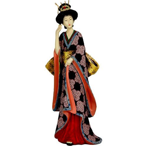 "Oriental Furniture 14"" Geisha Figurine With Ivory Flower Sash Figurine"