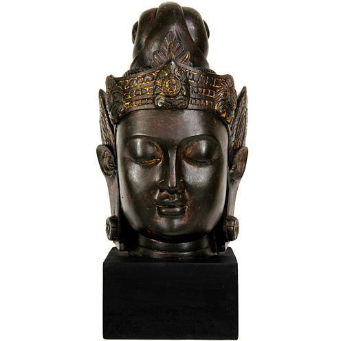 """Oriental Furniture 16"""" Cambodian Buddha Head Figurine"""