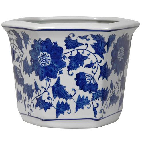"Oriental Furniture 10"" Floral Blue & White Porcelain Planter"