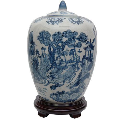 "Oriental Furniture 11"" Ladies Blue & White Porcelain Vase"