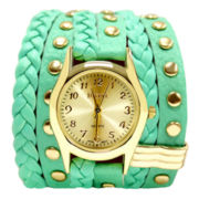 Decree® Womens Green Stud Wrap Strap Watch