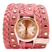 Decree® Womens Pink Stud Wrap Strap Watch
