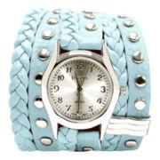 Decree® Womens Blue Stud Wrap Strap Watch