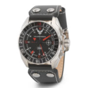 Wrist Armor® C3 Mens US Air Force Black Leather Strap Watch