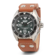 Wrist Armor® C3 Mens US Navy Brown Leather Strap Watch