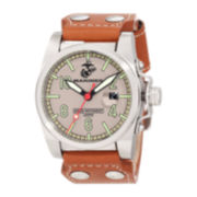 Wrist Armor® WA113 Mens US Marine Corps Brown Leather Watch