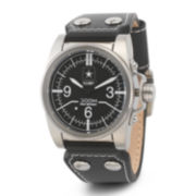 Wrist Armor® C1 Mens US Army Black Leather Watch