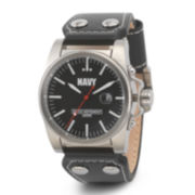 Wrist Armor® C1 Mens US Navy Black Leather Watch