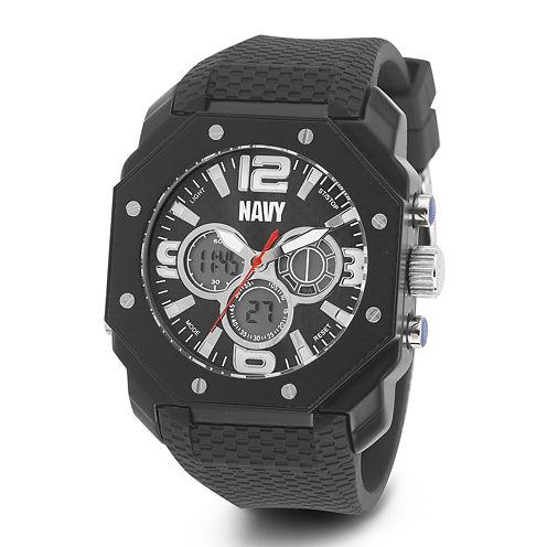 Wrist Armor® C28 Mens US Navy Black Silicone Chronograph Watch