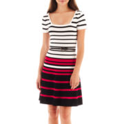 XOXO® Short-Sleeve Striped Fit-and-Flare Dress