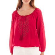 XOXO® Long-Sleeve Crochet Peasant Top