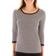 Liz Claiborne 3/4-Sleeve Striped Sweater - Tall