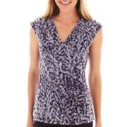 Liz Claiborne® Short-Sleeve Print Mesh Top