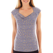 Liz Claiborne Short-Sleeve Cowlneck Top