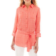 Liz Claiborne Roll Sleeve Tunic Blouse
