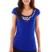 Worthington® Short-Sleeve Embellished Top - Petite