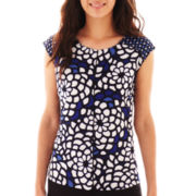 Worthington® Cap-Sleeve Side-Seam Zipper Top - Petite