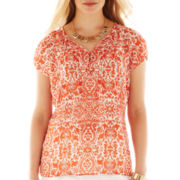 Liz Claiborne® Short-Sleeve Peasant Popover Blouse with Cami - Petite