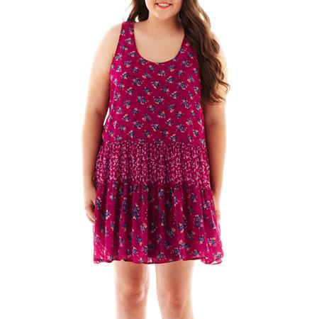 Arizona Sleeveless Mixed Floral Print Dress - Plus
