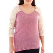 Arizona 3/4-Sleeve Lace Tee - Plus